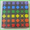 108 wooden learning pattern blocks toy with different color and shape