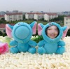 11-12cm blue elephant 3D face doll