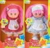 14 inch beautiful plastic head with plush body girl doll