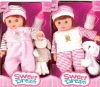 14 inch plastic real baby dolls sets with bottle and cartoon dog gift for girl