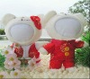 15CM plush wedding doll with red jacket and Chinese costumes