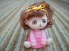 2012 hot sell vinyl shake head curly hair pink suspender pant anime figure cartoon toy figura