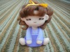 2012 hot sell vinyl shake head curly hair purple suspender pant anime figure cartoon toy figura