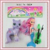2012 newest plastic horse toys with mermaid doll and guitar for girls