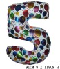 Giant Color Foil Number Balloons-Five (91cm W x 118cm H)