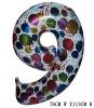 Giant Color Foil Number Balloons-Nine (76cm W x 113cm H)