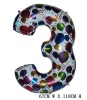 Giant Color Foil Number Balloons-Three (67cm W x 118cm H)