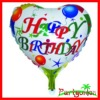 Heart Shaped Happy Birthday Helium Aluminium Foil Balloons/ Mylar Balloons/ Metallic Balloons