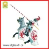 Knight silver armor red lance dragon for decoration