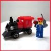 Lego men with car