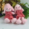 Pink plush dog with clothes custom plush toy plush animals big eges plush smurfs