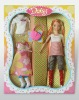 Pretty plastic dolls with doll clothes