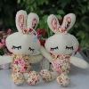 Promotional flower pattern baby plush bunny,stuffed plush bunny