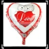 Red Heart Shaped Balloon With Two Bears
