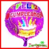 Round Foil Balloons With Happy Birthday Cake