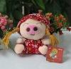 fashion red flower pattern plush pig with hat baby plush korean plush toy plush cute pig