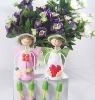 pink couple wooden craft dolll with flower