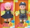 plastic doll head with plush body children toy