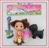 plastic kids dog toys with doll,feeding bottle and guitar