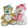 plush snowman and bear for x'mas decor, child love festive toy