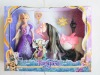 tangled rapunzel long blond hair princess doll horse toy