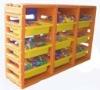 three plastic toys shelf